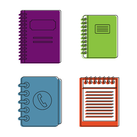 Notebook icon set, color outline style Banque d'images - 98732935