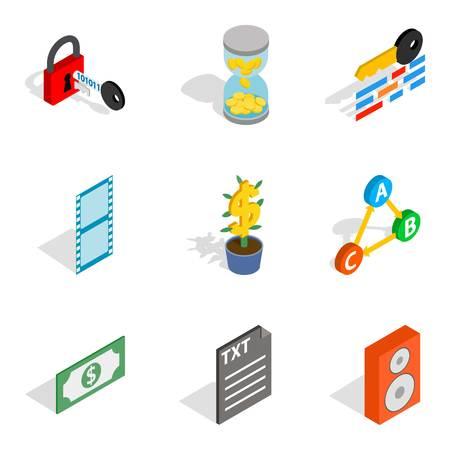 Multi-casting icons set. Isometric set of 9 multi-casting vector icons for web isolated on white background Illustration