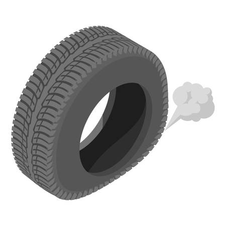 Deflating tyre icon. Isometric illustration of deflating tyre vector icon for web