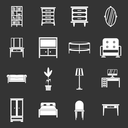 Furniture icons set vector white isolated on grey background