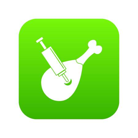 Syringe being injected to a piece of meat icon digital green for any design isolated on white vector illustration