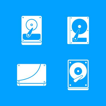 Hard disk icon set. Simple set of hard disk vector icons for web design isolated on blue background