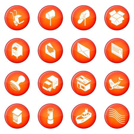 Post  delivery service icons set vector circle isolated on white background