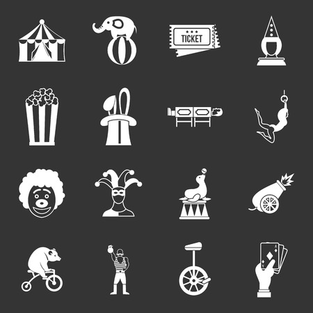 Circus entertainment icons set grey vector Illustration