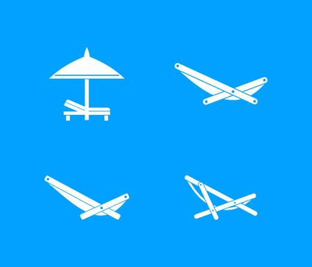 Deckchair icon set. Simple set of deckchair vector icons for web design isolated on blue background Illustration
