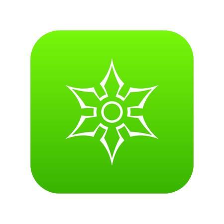Ninja shuriken star weapon icon digital green for any design isolated on white vector illustration