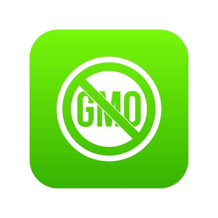 Stop GMO icon digital green for any design isolated on white vector illustration