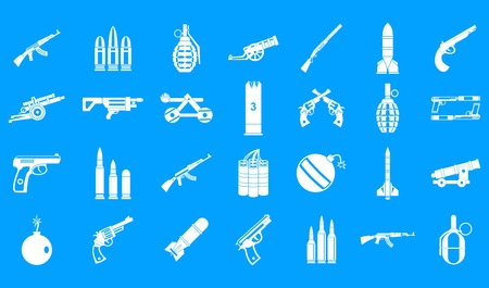 Weapons ammunition icon blue set vector