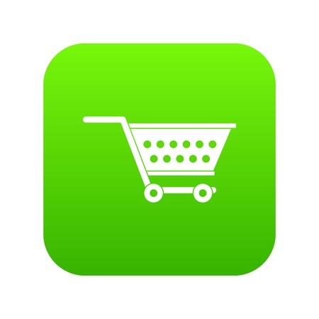 Empty supermarket cart icon digital green Illustration