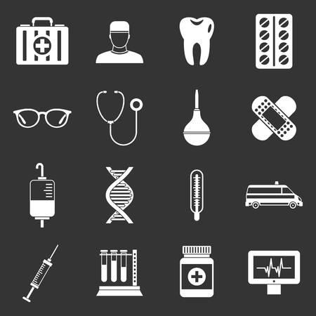 Medicine icons set vector white isolated on grey background