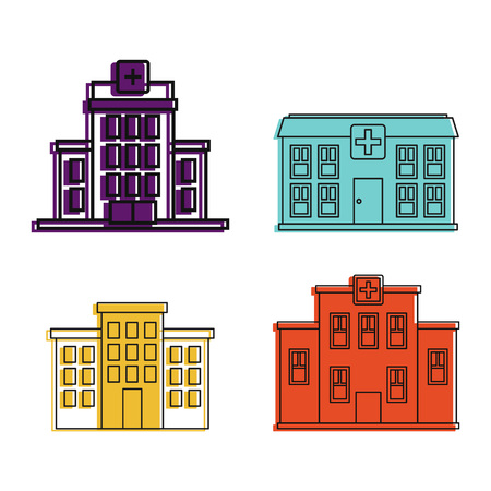 Hospital icon set, color outline style