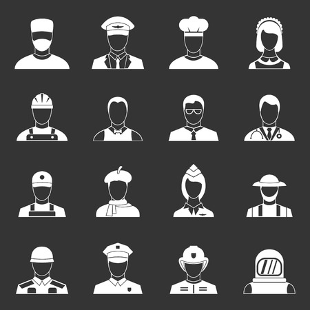 Professions icons set grey vector