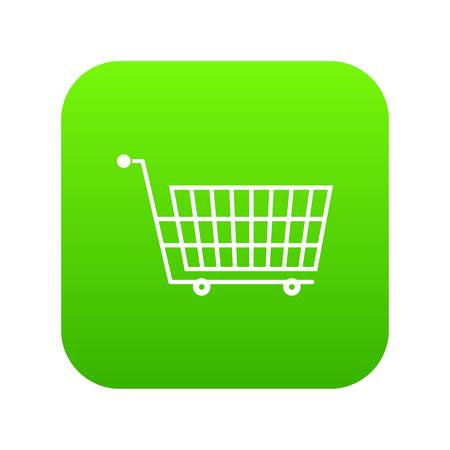 Large empty supermarket cart icon digital green