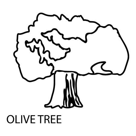 Olive tree icon, outline style Illustration
