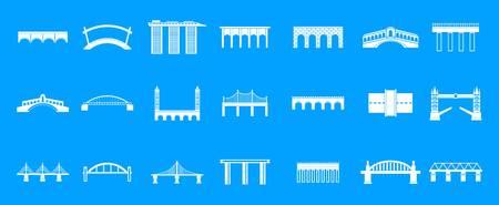 Bridge icon blue set vector