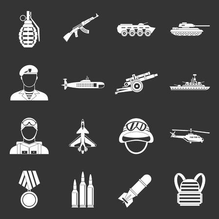 War icons set grey vector 向量圖像