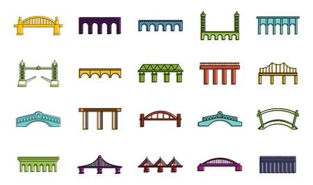 Bridge icon set, color outline style Illustration