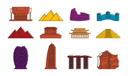 Hystorical bulding icon set, color outline style