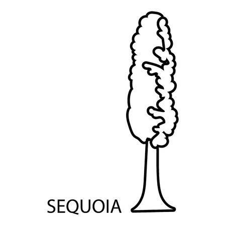 Sequoia icon, outline style Illustration