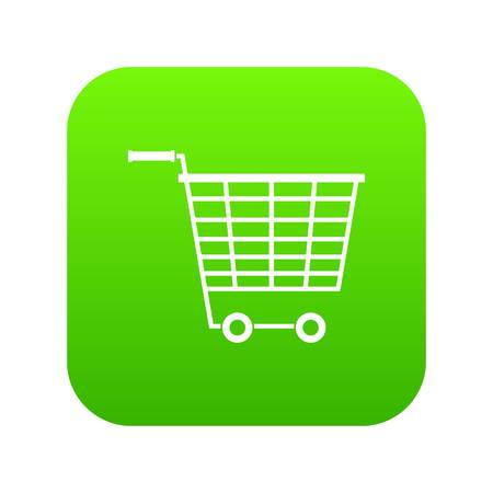 Empty supermarket cart with plastic handles icon digital green