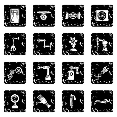 Technical mechanisms icons set grunge vector Vectores