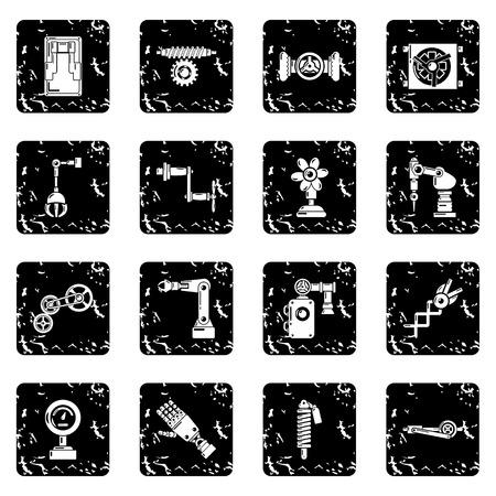 Technical mechanisms icons set grunge vector Illustration