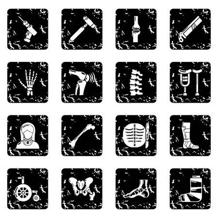 Orthopedist bone tools icons set grunge Vector illustration.