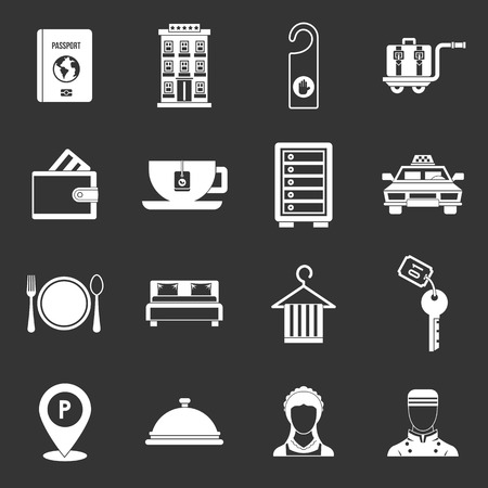 Hotel icons set vector white isolated on grey background 向量圖像