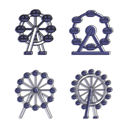 Ferris wheel icon set. Color outline set of ferris wheel vector icons for web design isolated on white background