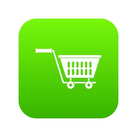 Plastic shopping trolley icon digital green for any design isolated on white vector illustration