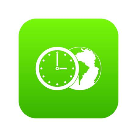 World planet with watch icon digital green for any design isolated on white vector illustration