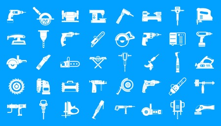 Electric tools icon blue set vector