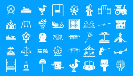 Kid amusement icon blue set vector Illustration