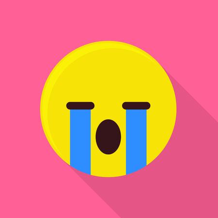Weeping emoticon icon. Flat illustration of weeping emoticon vector icon for web