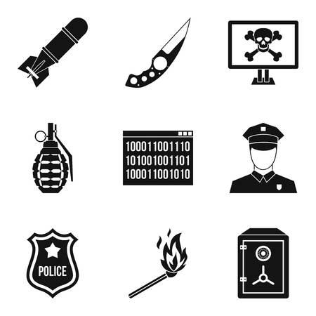 Offence icons set, simple style Illusztráció
