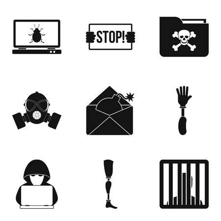 Seduction icons set, simple style