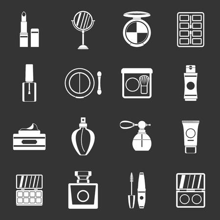 Cosmetics icons set grey vector
