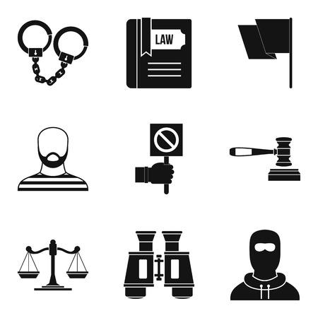 Molestation icons set, simple style Illustration