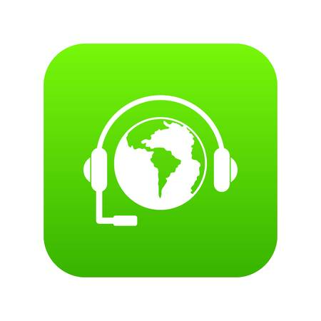 World planet and headset icon digital green