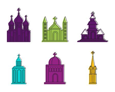 教会のアイコンセット、色のアウトラインスタイル  イラスト・ベクター素材