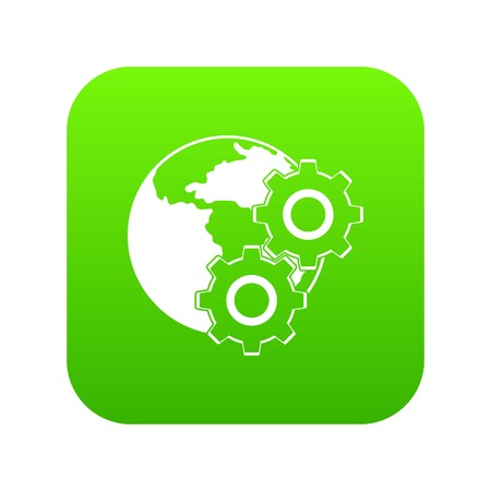 World planet and gears icon digital green Illustration