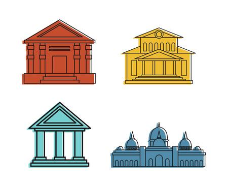 Set di icone del Museo, stile di contorno di colore