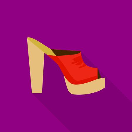 Heeled sandal icon, flat style Illustration