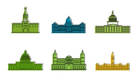 Parliament icon set, color outline style Illusztráció