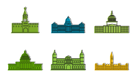 Parliament icon set, color outline style Illustration