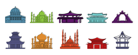 Temple icon set, color outline style Illustration