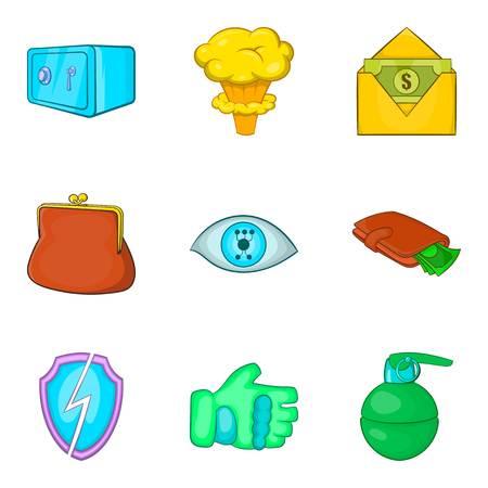 Gross carelessness icons set, cartoon style