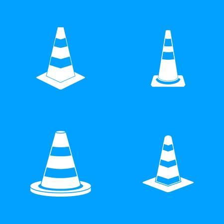 Road cone icon blue set vector Illustration