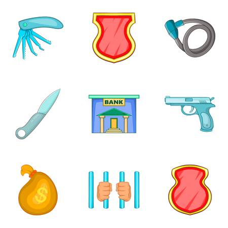 Criminal activity icons set, cartoon style
