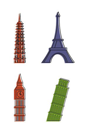 Hystorical tower icon set, color outline style